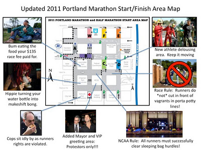 Occupy Portland took over space to be used by Portland Marathon.  Photo Illustration by Citizen Journalist Daylight Disinfectant / Dan Sandini