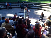 Amanda Fritz tells Occupy Protesters how wonderful they are. Photo Credit: The Oregonian