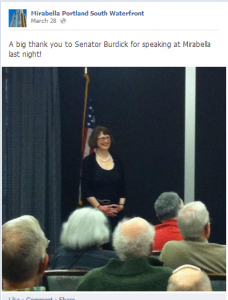 The first constituents heard about the town hall was AFTER the event on her Facebook page.