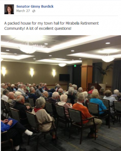 Burdick announced town hall AFTER it was already held via Facebook.
