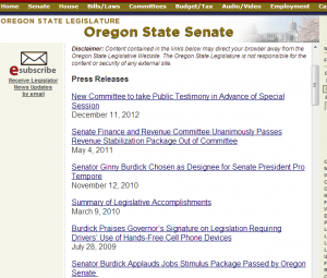 No announcement of Town Hall on the State Senator's website.