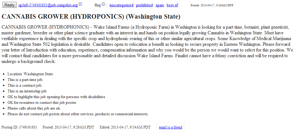 Marijuana job posted on craigs list