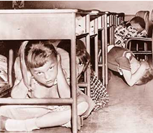 kids hiding under desk