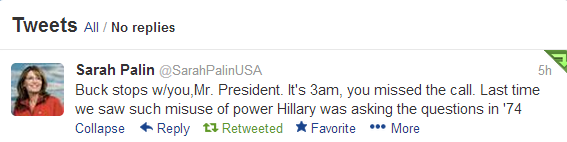 Obama Scandal Palin Tweet
