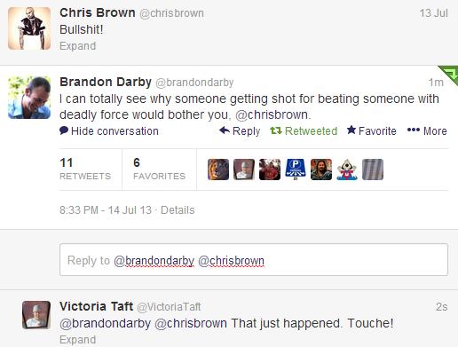Zimmerman Darby Chris Brown tweet