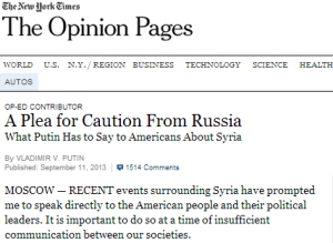Putin Lectures, the New York Times calls is a 'plea.'