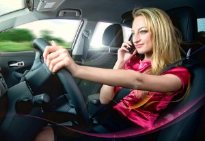 Study shows talking on cell phone while driving does not increase accidents.