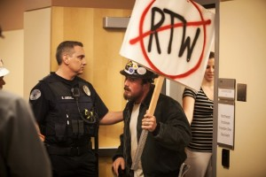 Carpenters Union members disrupted the event by Freedom Foundation and Cascade Policy.