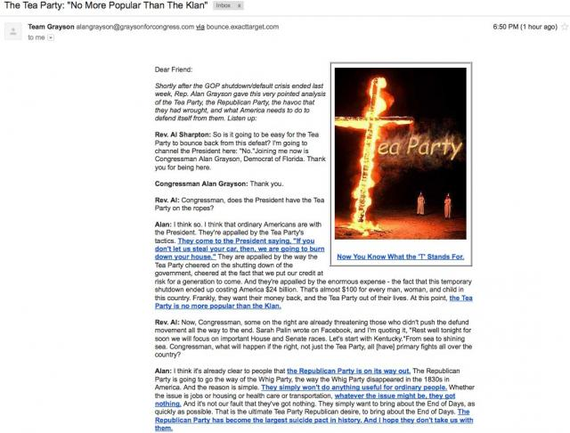 Democrat Congressman, Alan Grayson, uses KKK burning cross to malign the Tea Party