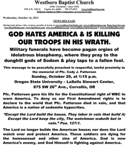 The Westboro Baptist Church issued flyer threatening picket of Army Ranger Pfc Cody Patterson.