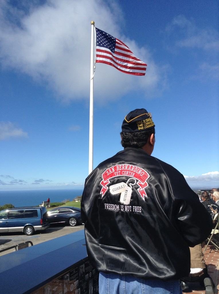 Veteran overlooking the Pacific Ocean from atop Mt. Soledad, home of the Veterans Memorial.