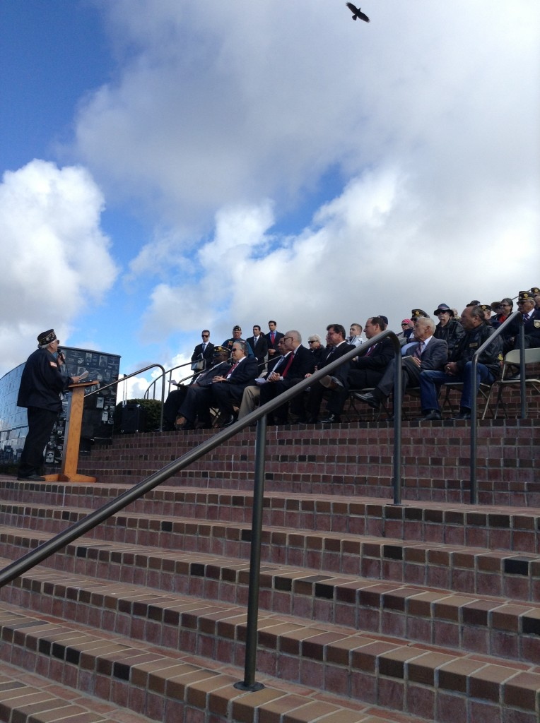 Rees Lloyd addressing dignitaries at the dedication of the plaque commemorating the Four Chaplains at Mt. Soledad Veterans Memorial