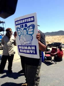A counter protester aligned who joined with the brown shirts at Murrieta, California Border Patrol Station protest.