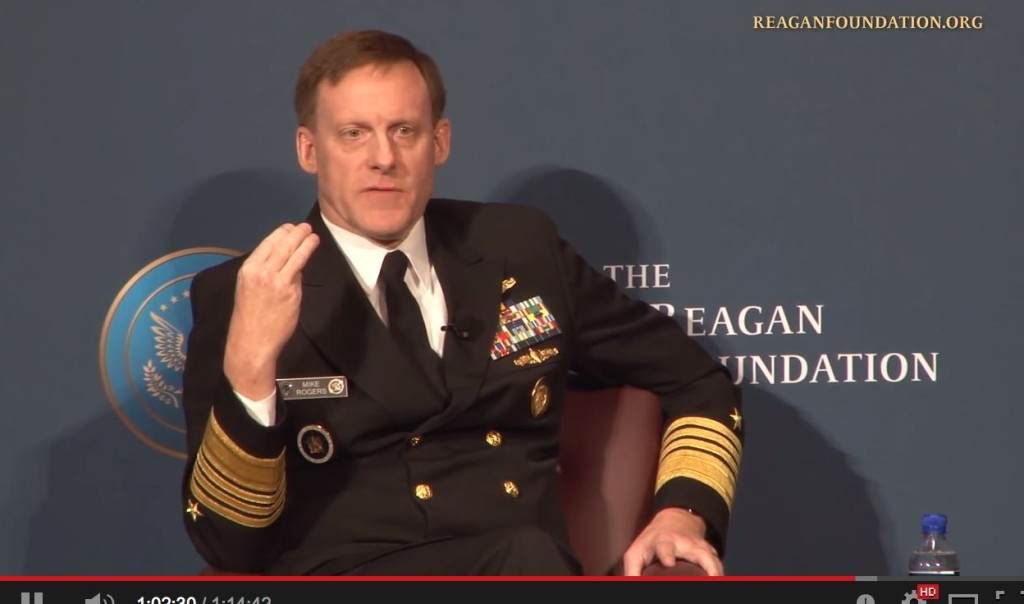 NSA Chief and Cyber Warfare Commander Admiral Michael Rogers at  the Reagan Defense Forum in November 2014. Image Credit: Reagan Library