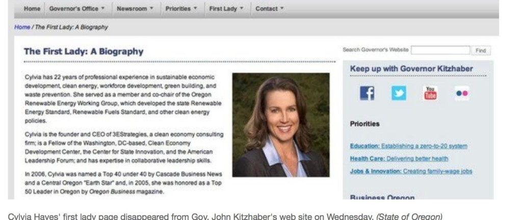 This is what the 'First Lady' page looked like before the Oregonian called for Kitzhaber's resignation. Tonight? It's gone.