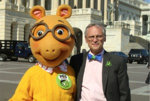 Earl Bow Tie Blumenauer meets with a cartoon character on Capitol Hill. It beats actually doing the people's real business. Image Credit: Politico